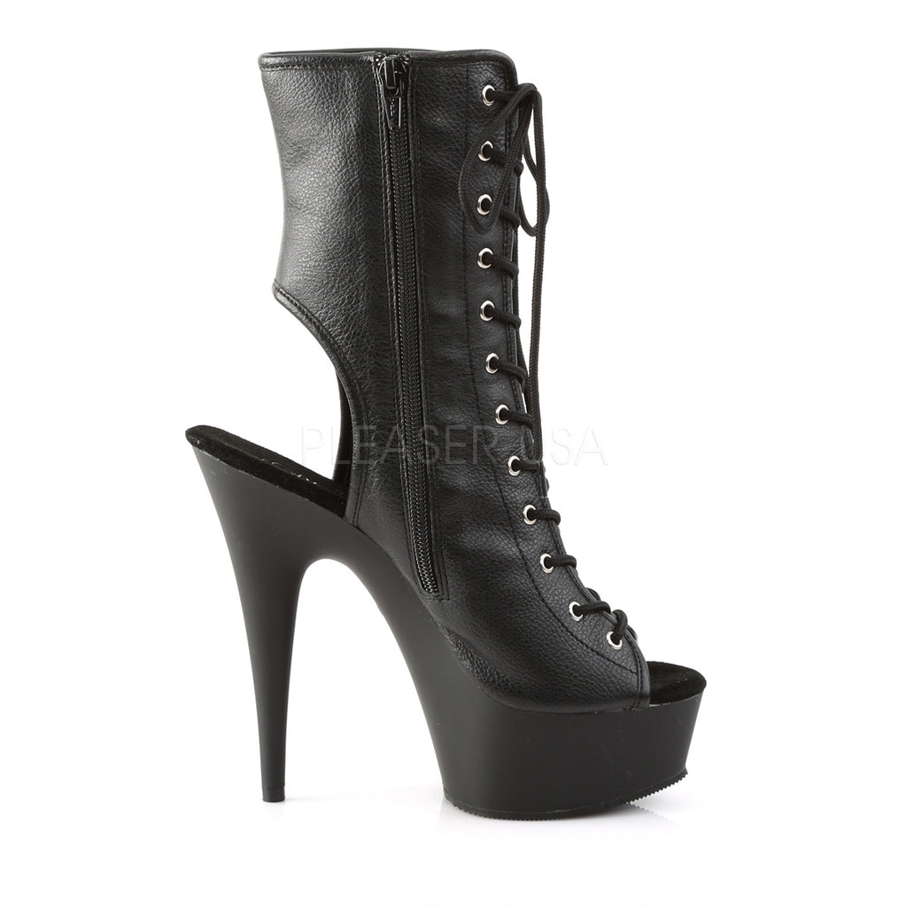 "6"" MATTE Lace up Stiletto heel with Open Toe Platform"