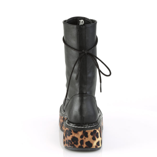 "2"" Black Leopard Sole Pu Wrapped Platform Mid-Calf Lace-Up Boot W/ Outer Metal Zipper & Razor Blade Zipper Pull"