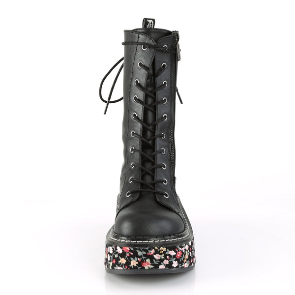 "2"" Black Floral Sole Pu Wrapped Platform Mid-Calf Lace-Up Boot W/ Outer Metal Zipper & Razor Blade Zipper Pull"
