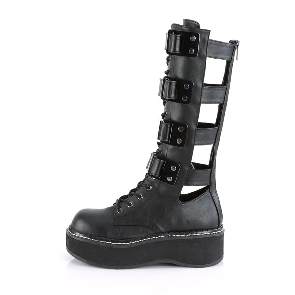 "2"" Platform Lace-Up Front Knee High Boot Featuring Multi Hook N' Loop Straps & Open Back Panels, Back Metal Zip Closure"