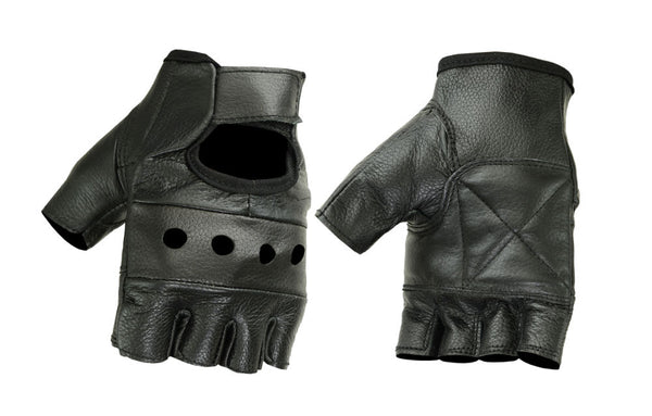Unisex Fingerless Leather Gloves