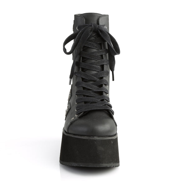 Platform Lace-Up Front Ankle Boot Featuring Razor Blade Charm