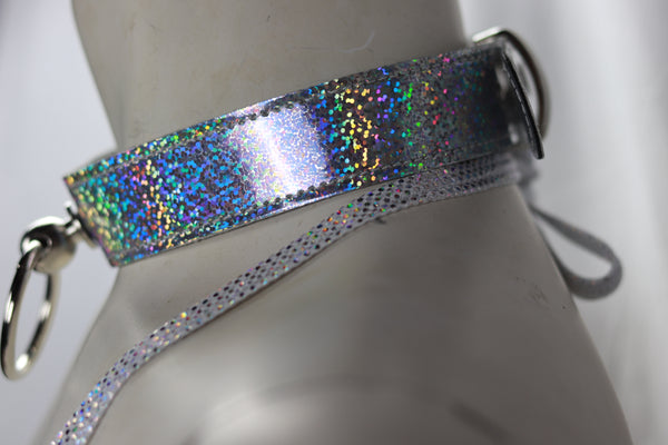 "Glitter Halter Bondage Ring 1 1/8"" Wide Patent Leather Choker"