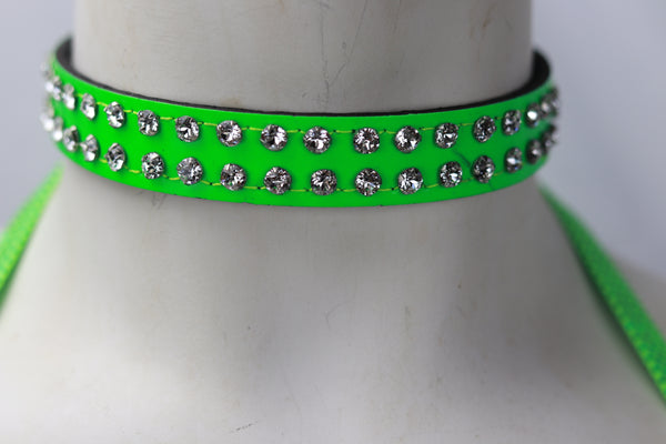 2 Rows Rhinestone Green Patent Leather Choker