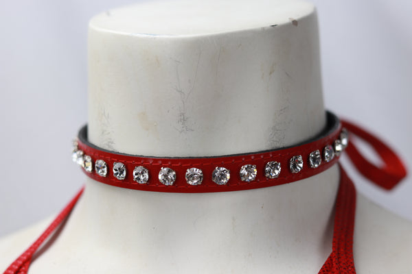 "Red Patent leather 1/2"" Wide  Choker with Rhinestone"
