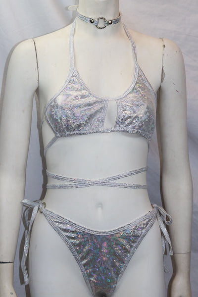 Dancewear Two Piece Silver Holographic Halter Top and High Waist Bottom Set