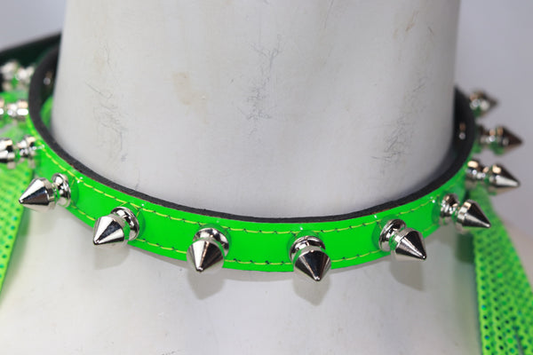 "Patent Leather Neon Green 1/2"" Wide Choker with Spikes"