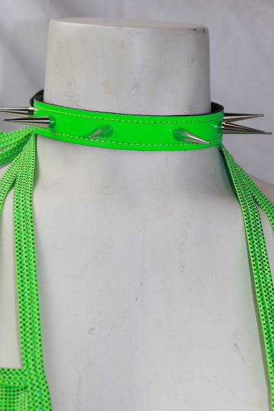 "Neon Green Patent Leather 3/4"" Wide Choker with 1"" Tall Spike"
