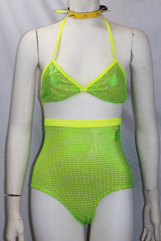 Ravewear Two Piece Shiny Mesh Halter Top and High Waist Short Set