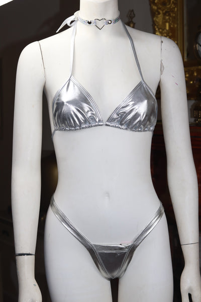 Dance wear Two Piece Foil Silver Tri Top and Vegas Style Thong Set