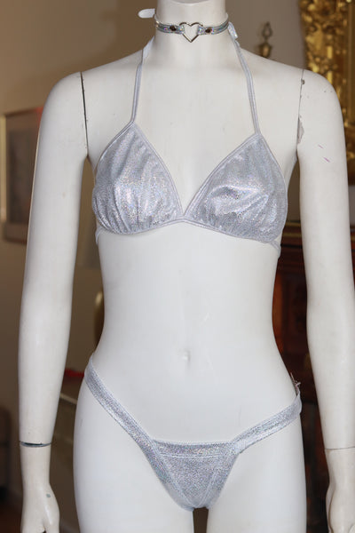 Dance wear Two Piece Shattered Silver Foil Tri Top and Vegas Style Thong Set