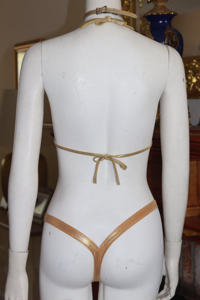 Dance wear Two Piece Foil Gold Halter Top and Vegas Style Thong Set