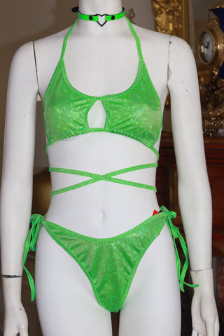 Dancewear Two Piece Green Holographic Halter Top and High Waist Bottom Set