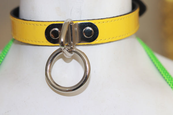 "3/4"" Wide Black Bondage Patent Leather Choker"