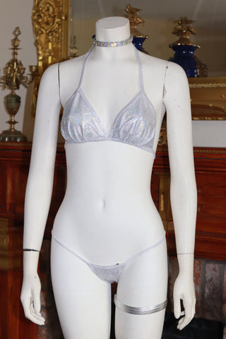 Dance wear Two Piece Shattered Silver Foil Tri Top and Thong Set