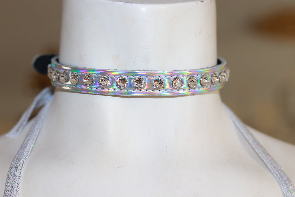 "Holographic Silver Patent leather 1/2"" Wide  Choker with Swarovski Rhinestone"