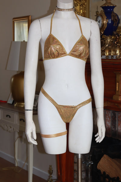 Dance wear Two Piece Shattered Gold Foil Tri Top and Vegas Style Thong Set