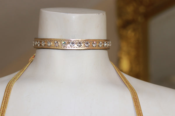 "Patent leather 1/2"" Wide Gold Choker with Rhinestone"