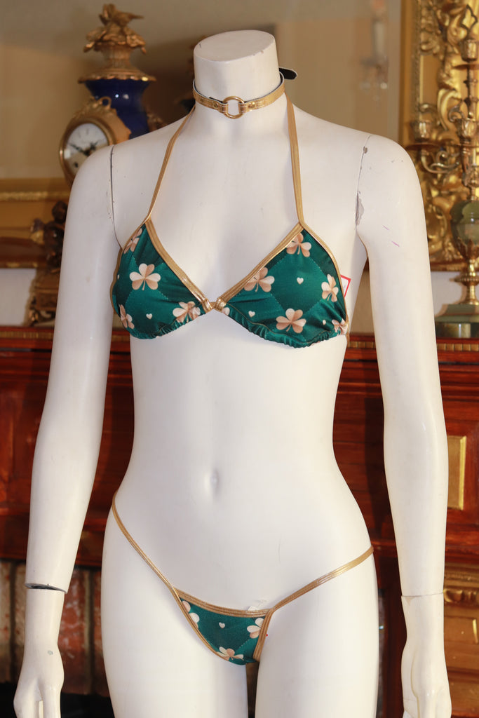 Dance wear Two Piece Gold Shamrocks Print Tri Top and Thong Bottom Set