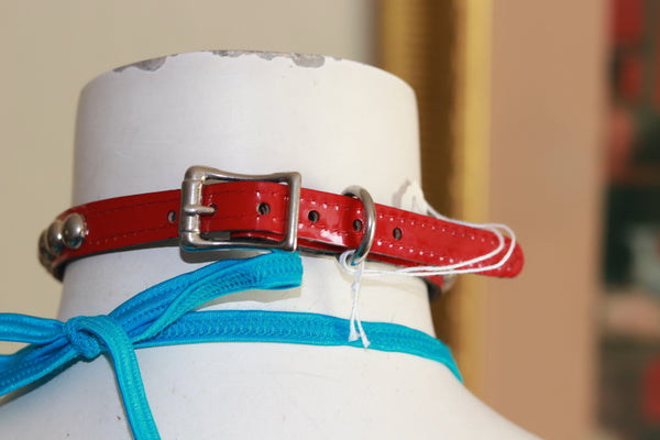 "Neon Red Patent Leather 1/2"" Wide Choker with 1/4"" Round Studs"