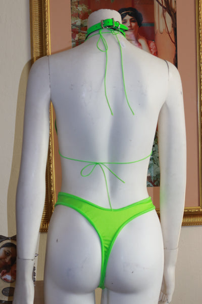 Two Piece Neon Green Spandex Bikini Top and High Waist Thong Set