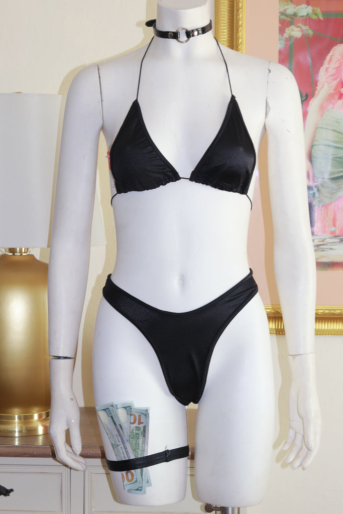 Two Piece Black Spandex Bikini Top and High Waist Thong Set