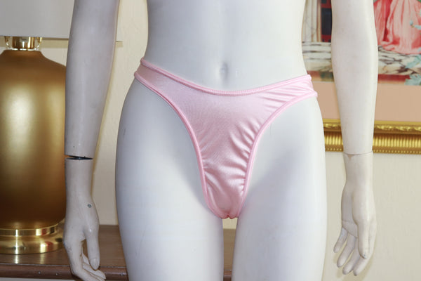 Two Piece Baby Pink Spandex Bikini Top and High Waist Thong Set