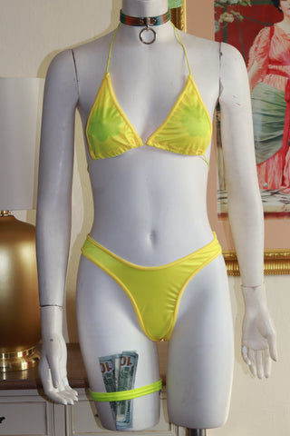 Two Piece Yellow Spandex Bikini Top and High Waist Thong Set