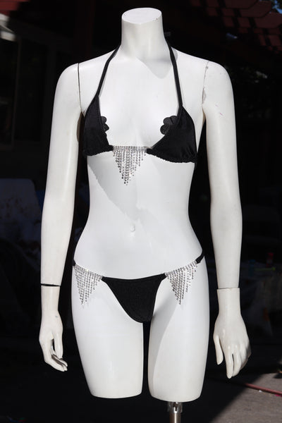 Two Piece Black Rhinestone Link Tri Top and Sling Thong Set