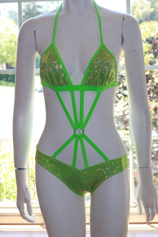 Halter Lime Hologram Bodysuit with O-Ring and Criss Cross Straps