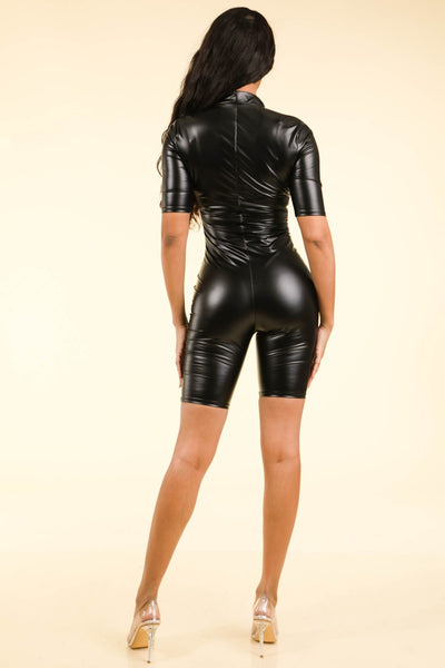 Satin pu zipped biker romper