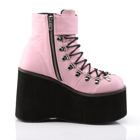 Baby Pink Faux Lace-Up Ankle Boot Featuring Adjustable Ankle Cuff,