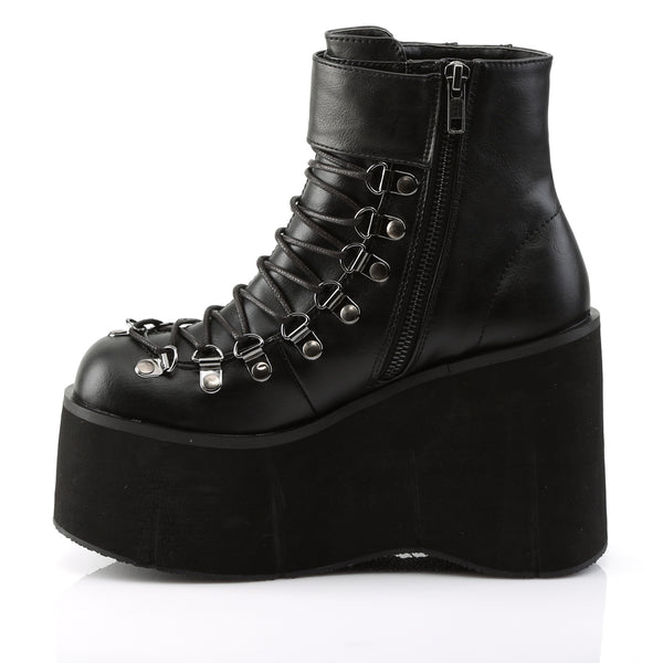 Black Faux Lace-Up Ankle Boot Featuring Adjustable Ankle Cuff,