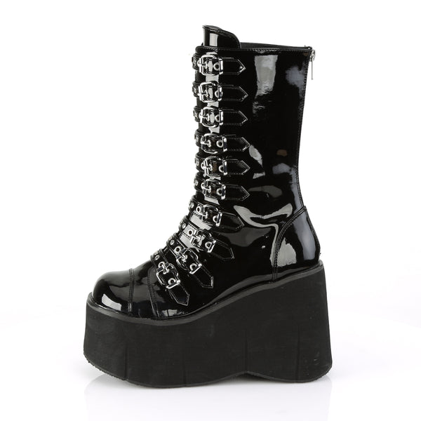 "4 1/2"" Black Patent Platform Strappy Mid-Calf Boot Featuring Dual Buckles on Each Strap, Round & Heart Stud Detail on Straps, Back Metal Zip Closure"