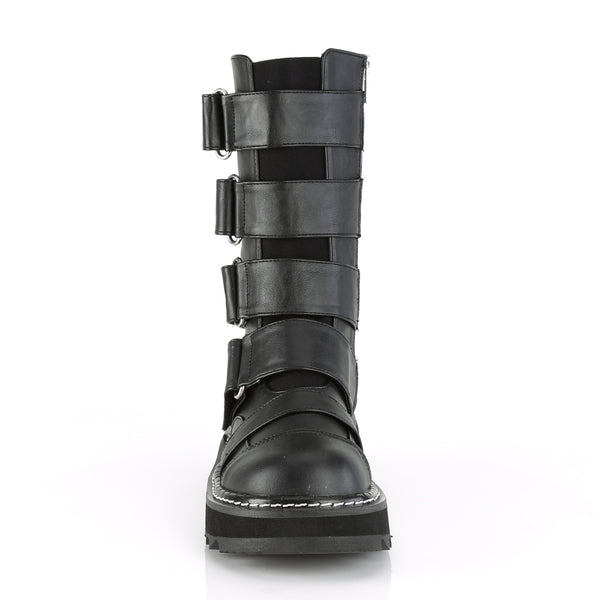 "1 1/4"" Black PlatformFront Strap Mid-Calf Boot Featuring Elastic Front Panel w/ 4 Hoop N' Loop Straps, Side Zip Closure"
