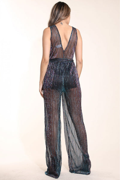 Shimmer pleated mesh jumpsuit