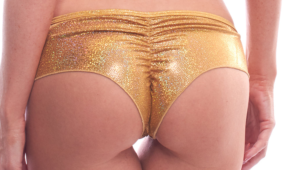 New Years Scrunch Back Micro Shorts, Shattered Gold