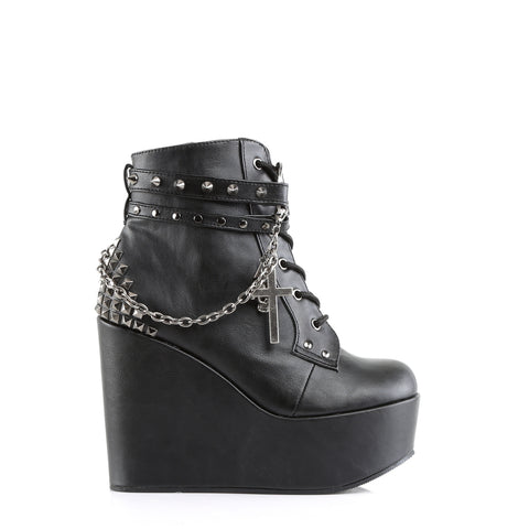 Wedge Platform Lace-Up Front Ankle Bootie