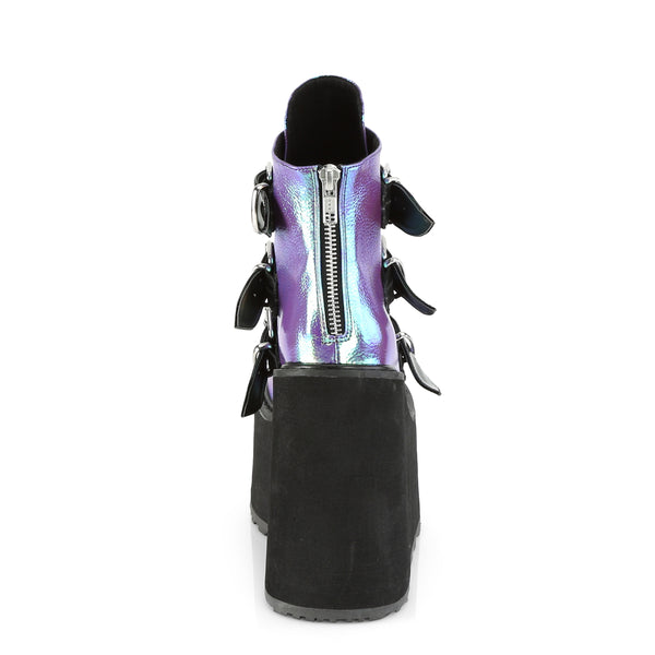 "5 1/2"" Platform Purple Iridescent Ankle Boot Featuring Triple Buckle Straps w/ Silver Chrome Plated Metal Plates at Center, Back Metal Zip Closure"