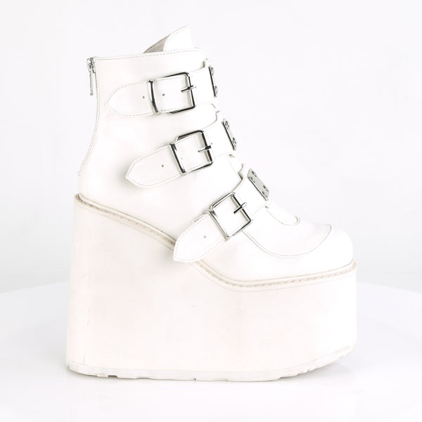 "5 1/2"" Platform White Ankle Boot Featuring Triple Buckle Straps w/ Silver Chrome Plated Metal Plates at Center, Back Metal Zip Closure"