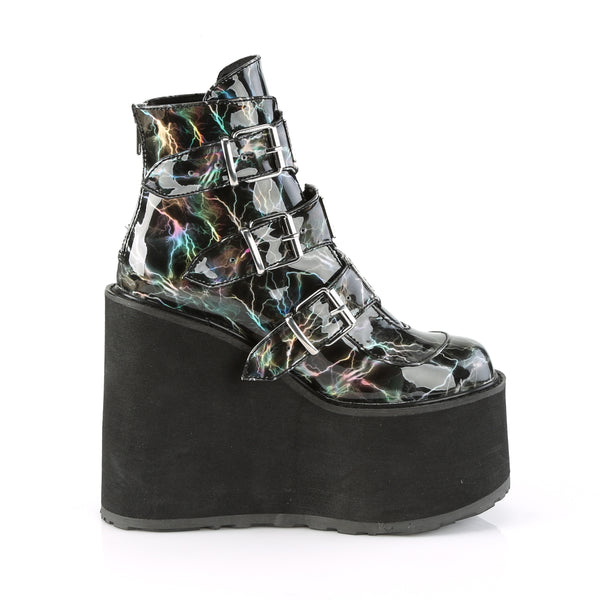 "5 1/2"" Platform Black Hologram Ankle Boot Featuring Triple Buckle Straps w/ Silver Chrome Plated Metal Plates at Center, Back Metal Zip Closure"