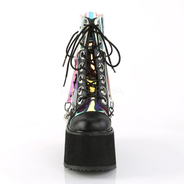 "5 1/2"" Wedge Platform Lace-Up Front Ankle Boot Featuring Removable PVC Harness"