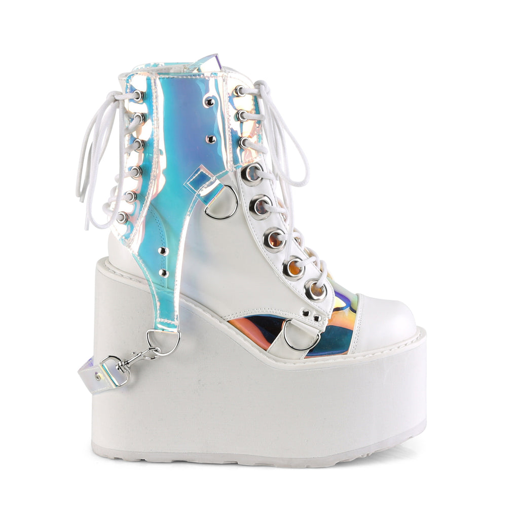 "5 1/2"" Wedge Platform Lace-Up Front White Ankle Boot Featuring Removable Clear PVC Harness"