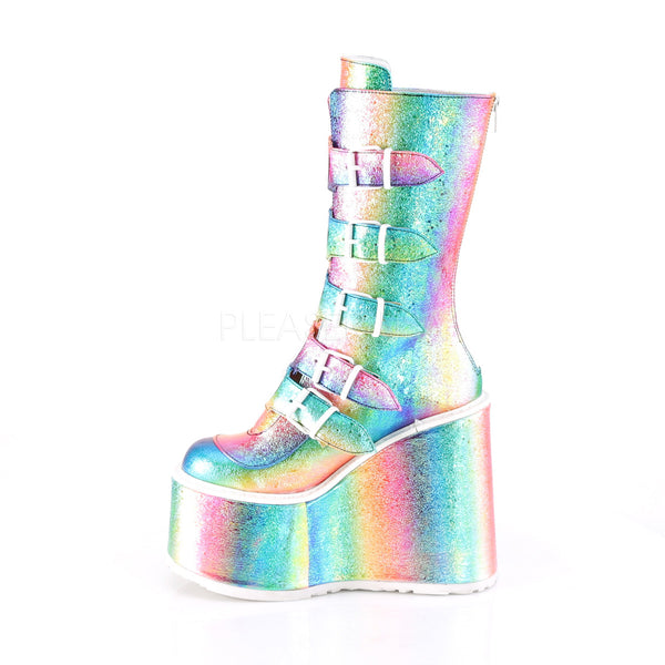 "5 1/2"" Platform Mid-Calf Rainbow Boot Featuring 5 Buckle Straps w/ Heart Shaped Metal Plates at Center"