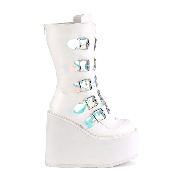 "5 1/2"" White Platform Mid-Calf Boot Featuring 5 Clear Buckle Straps"