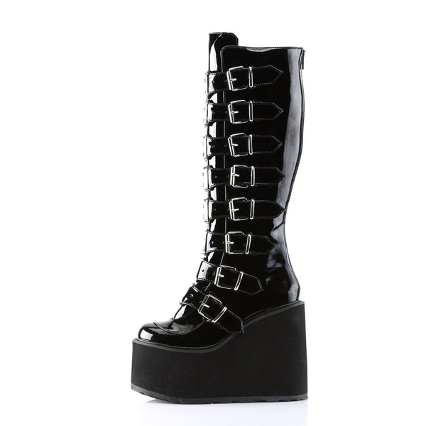 "5 1/2""  Wedge Platform Goth Punk Gogo Knee Boot with Metal Plates, Full Back Zipper"