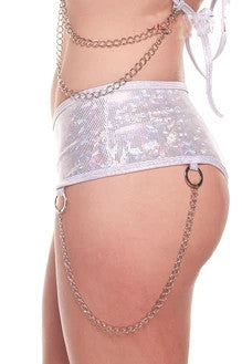 Ravewear Two Piece Silver Holographic Halter Top and Short Set