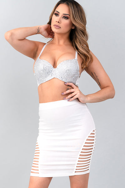 WHITE CLEAR RHINESTONE COVERED BRA