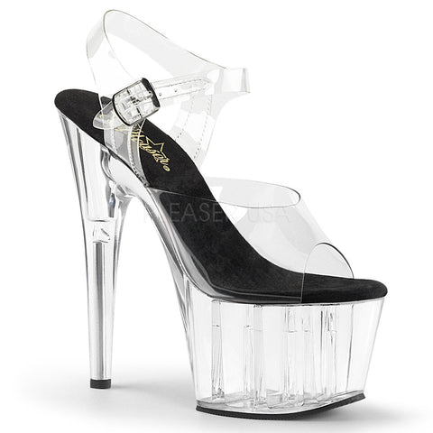 "7"" Heel Platforms Ankle Strap Sandal w/ Chrome Plated Bottom"