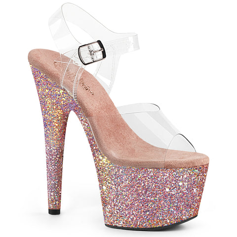 7 Inch Platform Ankle Strap Sandal Featuring Holographic Glitters Covering the Entire Platform Bottom